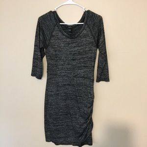 Ruched sweater dress in dark gray